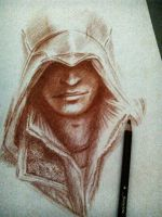 Incomplete Ezio Auditore (sanguigna pencil) part.3 by Musiriam