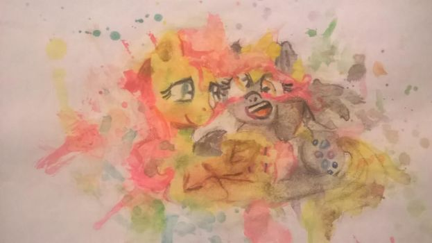 Fluttershy and Derpy by luna12palida
