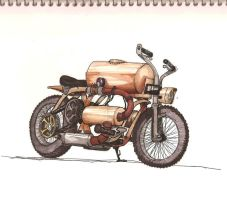 Steampunk Motorcycle Sketch by DoctorJames