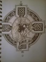 Dragon On Celtic Cross by chaosheel