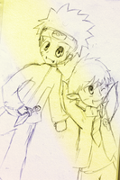 Rin and Naruto Sketch 2 by Xiqi