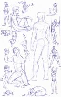 Figure Study Sketches (Male) by kuabci
