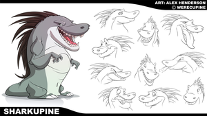 Commission - Sharkupine Model Sheet by AlexanderHenderson