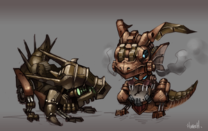 Steampunk Baby Dragons by Skence