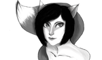 Kitsune (Black and White ver.) by Redpaperlantern