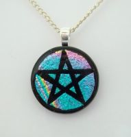 Teal Pentacle Fused Glass Pendant by poisons-sanity
