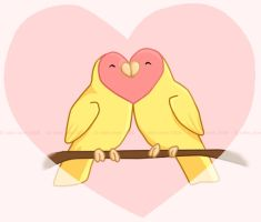 lovey dovey lovebirds by meihua