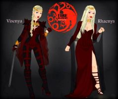 Visneya and Rhaenys: The Fire and Blood Queens by LadyRaw90