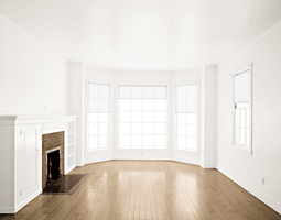 Empty Room - Light Brown Floor - Fireplace - White by Quryous