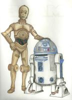 C-3P0 and R2-D2 (Colored Pencil) by thebmagic