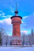 Water tower in Winter HDR by freaky-x