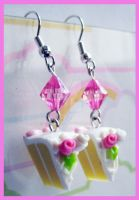 Wedding Cake Earrings by cherryboop