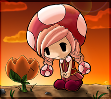 Toadette and Fire Flower by morganchan