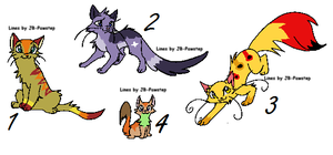4 Cat adoptables for free by LizzysAdopts