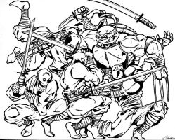 Raph vs Foot Soldiers by StaindHand
