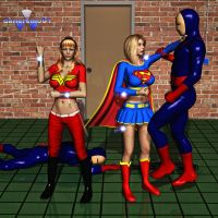 Wonder Girl and Supergirl vs Reactron 01 by Daniel-Remo-Art