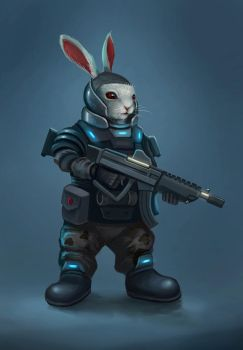 SCI FI military rabbit by cicakkia