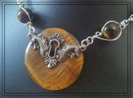 Tigers eye Keyhole Necklace by BacktoEarthCreations