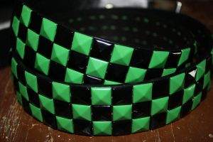 Black and Green Studded Belt by ThatFreakYouHate