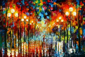 A Date With The Rain by Leonid Afremov by Leonidafremov
