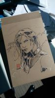 Psylocke Sharpie sketch by dreamflux1