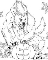 Werewolf and pumpkin lineart by FuriarossaAndMimma
