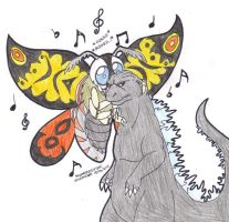 Goji and Mothra: Hey tough guy by SkywalkerGirl666