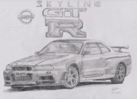 Nissan Skyline GTR R34 by footiedavana