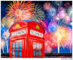Fireworks Over A Classic British Telephone Box by marksda1