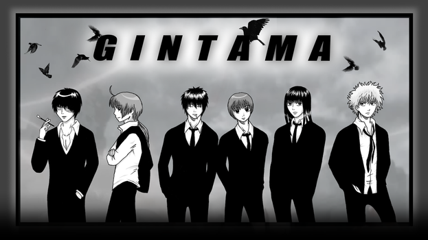 Black and white Gintama by arumaru
