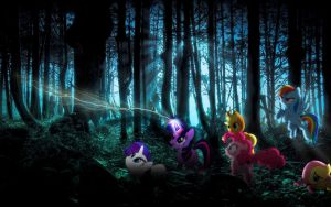 The Mane 6 Wallpaper Forest At Night by PinkiePizzles