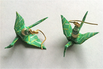 Green and Yellow Origami Crane Earrings by VincaMinor