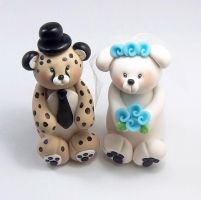 Cheetah and Polar Bear Wedding Cake Topper by HeartshapedCreations