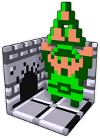 [tres-d voxel] Legend of Zelda - Link w/ Triforce by nintentofu