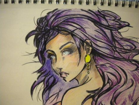 Close up of face from 'Purple' by kayl33n