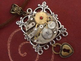 Clockwork Necklace Against Red by GildedGears