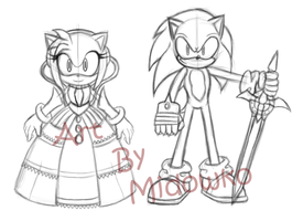 Sketch Sonic and Lady by Midowko