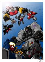 Stunticons Vs Aerialbots (coloured version) by Whelljeck