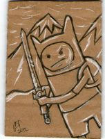 Adventure Time cardboard sketch card by johnnyism