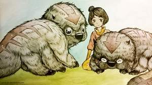 Jinora+ baby sky bison by anna-jin
