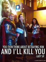 THOR LOKI AND SIF HAVE A FRIENDLY CHAT by captainjaze