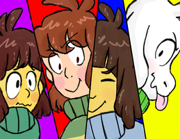 chisk, chara, frisk, and asriel by alexbeeza
