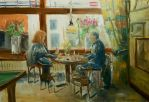 In the Cafe, live painting by NancyvandenBoom
