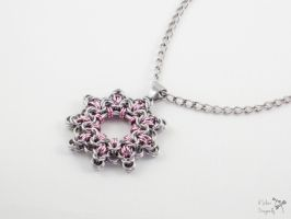 Pink Snowflake Pendant Necklace by ASilverDragonfly