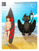 Hiccup and Toothless in the Beach by Richmen