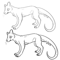 FREE Thylacine-Ferret Thing Linearts by LeaTenshi