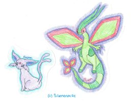 Espeon and Flygon! (old doodles) by Silverstripe24