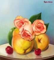 Pears and roses by IgnisFatuusII
