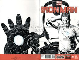 Iron Man (Robert Downey Jr.) Sketch Cover by tedwoodsart