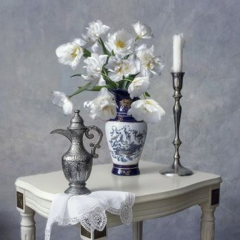 Still life with white tulips by Daykiney